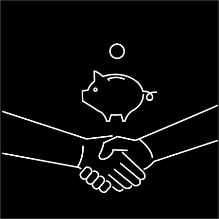 personality development: Vector selling skils icon of handshake and piggy moneybank  Illustration