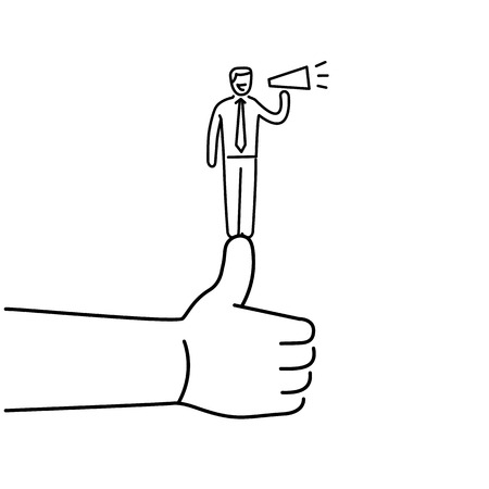 personality development: Vector self promotion skills icon of businessman staying on the top of the thumb up
