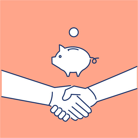 personality development: Vector selling skils icon of handshake and piggy moneybank | modern flat design soft skills linear illustration and infographic on orange background Illustration