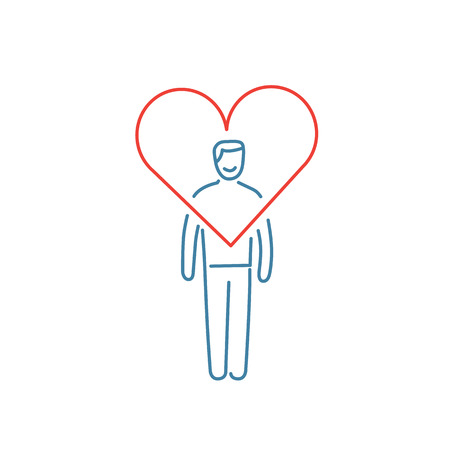 resilience: Vector forgiveness skills icon of businessman with heart around his head | modern flat design soft skills linear illustration and infographic red and blue on white background Illustration