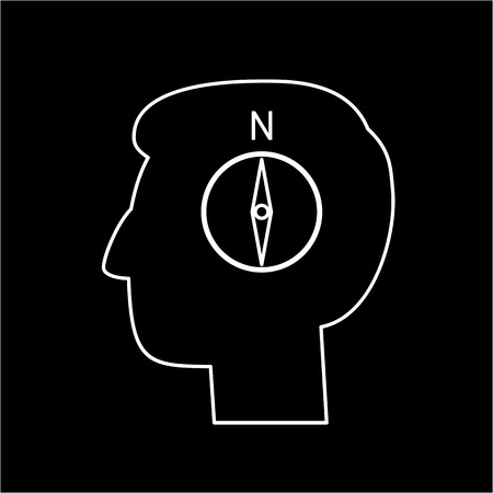 personality development: Vector management skills icon of compass in brain | modern flat design soft skills linear illustration and infographic white on black background