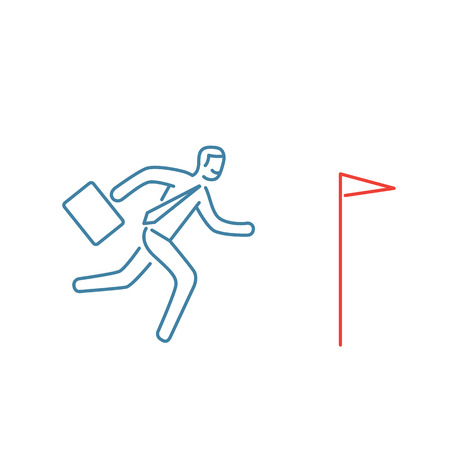 personality development: Vector persistence and perseverance skills icon of businessman running to his goal flag