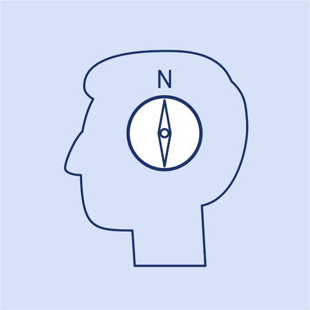 facilitating: Vector management skills icon of compass in brain