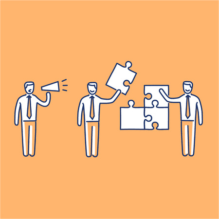Vector management skills icon of one manager and two businessman building puzzle
