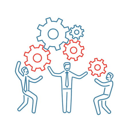 Vector teamwork skills icon of businessman with gears building engine together Illustration