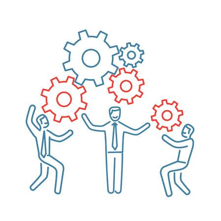 Vector teamwork vaardigheden icoon van zakenman met versnellingen bouwen motor samen Stock Illustratie
