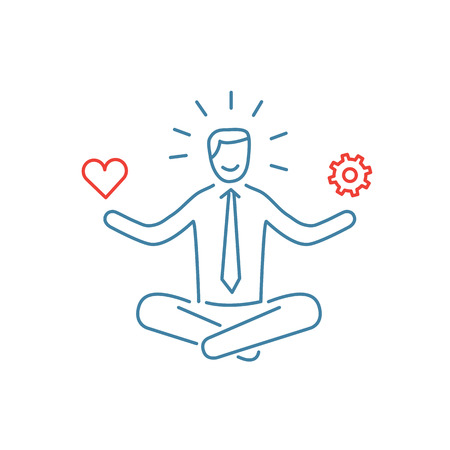 stress management: Vector stress management skills icon with meditating businessman balancing work and personal life
