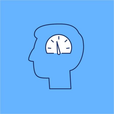 heart hard work: Vector emotion regulation skills icon of speedometer in brain  Illustration