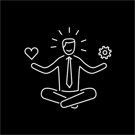 resilience: Vector stress management skills icon with meditating businessman balancing work and personal life