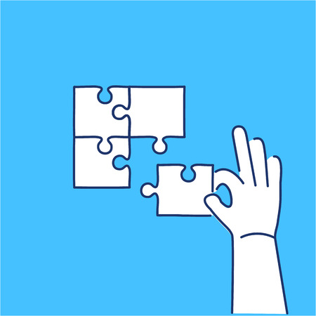 self development: Vector skills icon of building puzzle finding solution