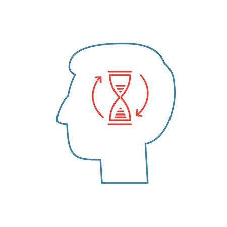 paciencia: Habilidades Vector paciencia icono con el reloj de arena en el cerebro Vectores