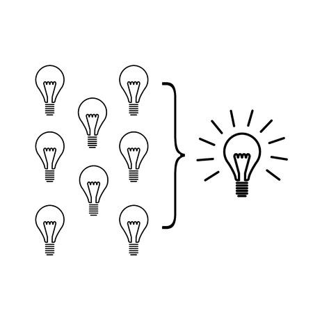 facilitating: Vector facilitating skills icon of creating one big idea from many small ideas Illustration