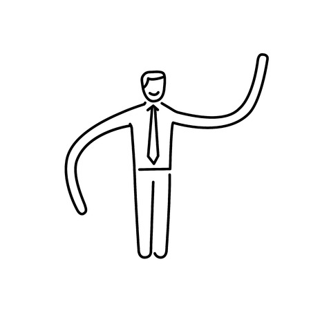 Vector resilience and flexibility skills icon of businessman with long hands