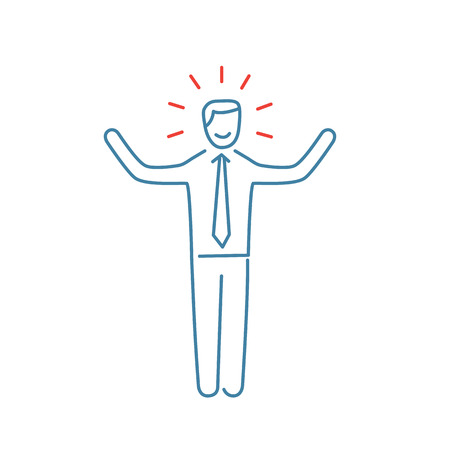 Vector self confidence skills icon of happy businessman with hands up  Ilustracja