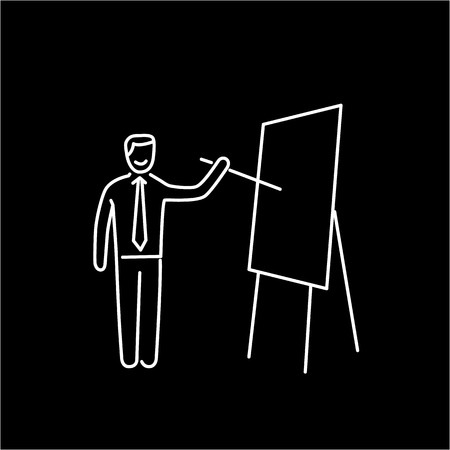 facilitating: Vector presentation skills icon of businessman presenting on board
