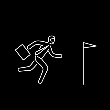 persistence: Vector persistence and perseverance skills icon of businessman running to his goal flag
