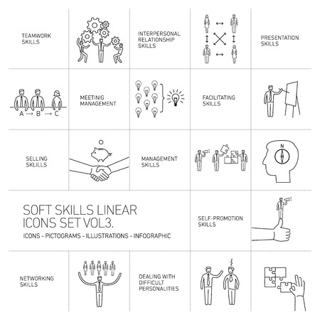 facilitating: Soft skills linear vector icons and pictograms set of human skills in business and teamwork black on white background