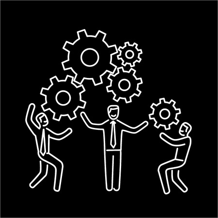 personality development: Vector teamwork skills icon of businessman with gears building engine together Illustration