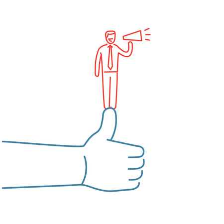 facilitating: Vector self promotion skills icon of businessman staying on the top of the thumb up