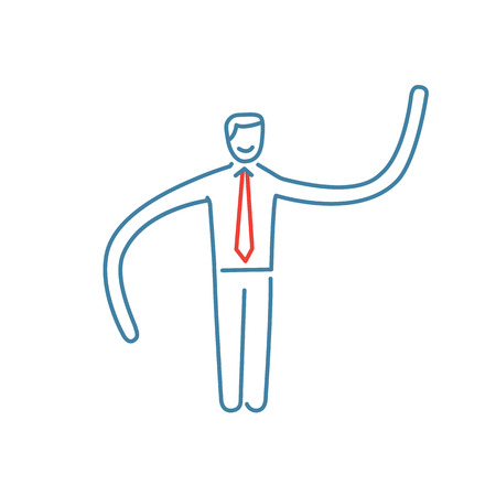 flexibility: Vector resilience and flexibility skills icon of businessman with long hands