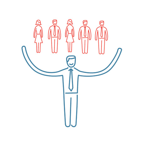 personality development: Vector networking skills icon of businessman taking care about his team  Illustration