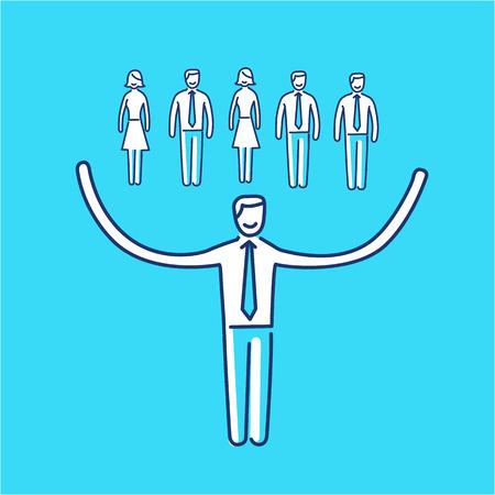 ビジネスマンの彼のチームについての世話のネットワー キングのスキル アイコンをベクトルします。  イラスト・ベクター素材