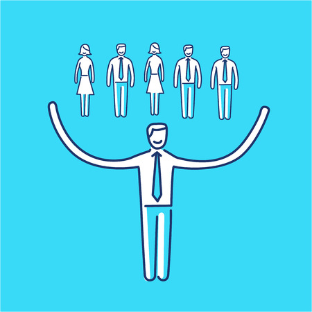 Vector networking skills icon of businessman taking care about his team  Çizim