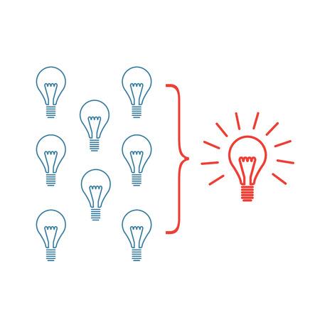personality development: Vector facilitating skills icon of creating one big idea from many small ideas