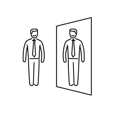Vector zelfbewustzijn vaardigheden pictogram van de zakenman staat in voor de spiegel