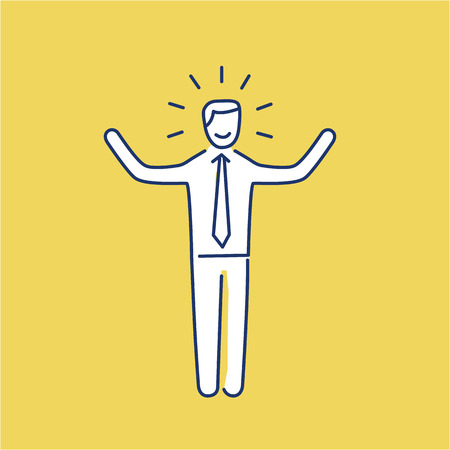 Vector self confidence skills icon of happy businessman with hands up  Çizim