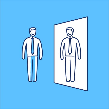 heart hard work: Vector self awareness skills icon of businessman standing in front of the mirror