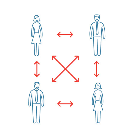 personality development: Vector interpersonal relationship skills icon of group of businessman connected with arrows
