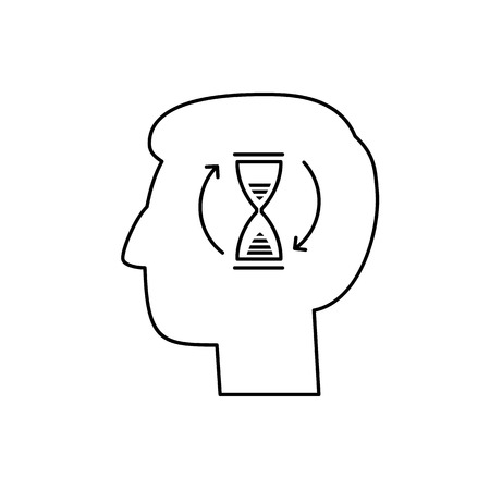 patience: Vector patience skills icon with sand clock in brain