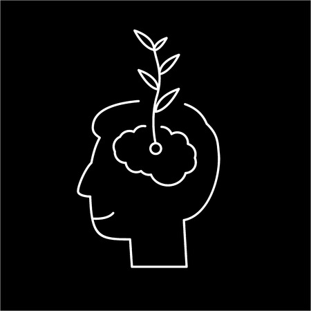 heart hard work: Vector growth mindset skills icon growing plant from the brain  Illustration