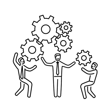 Vector teamwork skills icon of businessman with gears building engine together