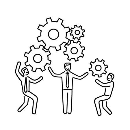 Vector teamwork vaardigheden icoon van zakenman met versnellingen samen de bouw van de motor