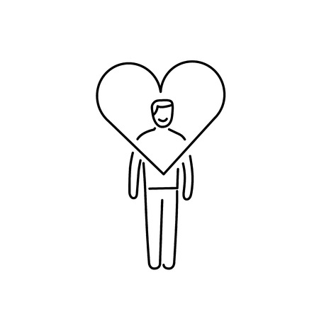 heart hard work: Vector forgiveness skills icon of businessman with heart around his head