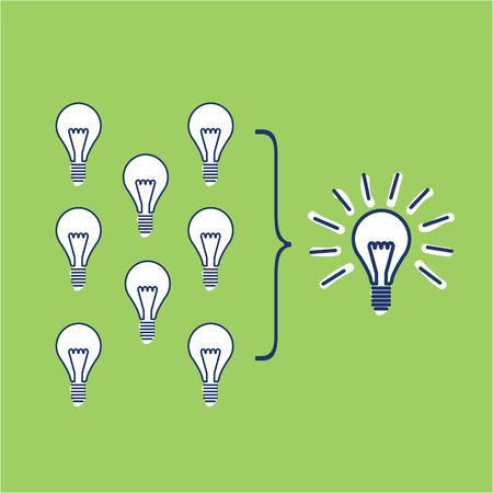 Vector facilitating skills icon of creating one big idea from many small ideas