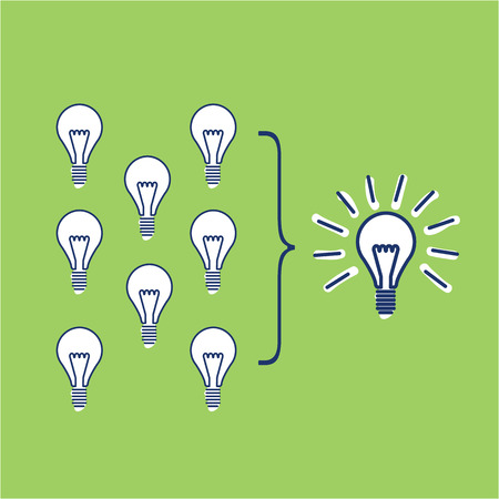 projects: Vector facilitating skills icon of creating one big idea from many small ideas
