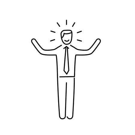 self confidence: Vector self confidence skills icon of happy businessman with hands up  Illustration