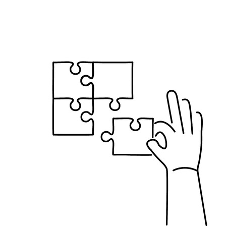 facilitating: Vector skills icon of building puzzle finding solution