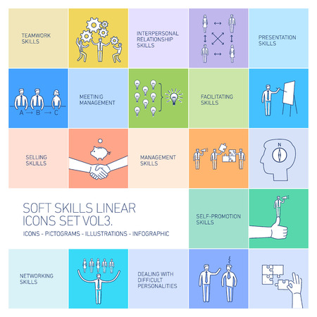 Soft skills linear vector icons and pictograms set of human skills in business and teamwork on colorfulf background