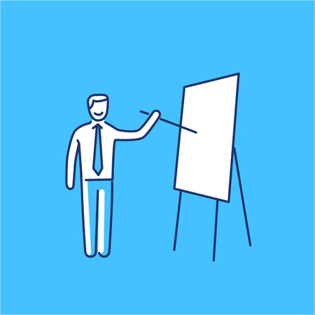 personality development: Vector presentation skills icon of businessman presenting on board