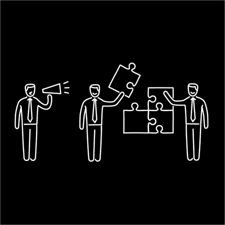 facilitating: Vector management skills icon of one manager and two businessman building puzzle