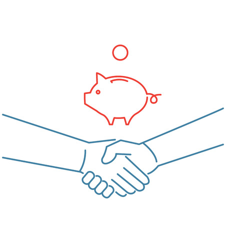 personality development: Vector selling skills icon of handshake and piggy money bank