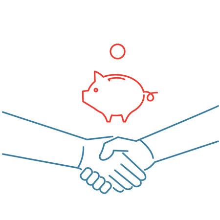 facilitating: Vector selling skills icon of handshake and piggy money bank