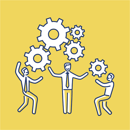 personality development: Vector teamwork skills icon of businessmans with gears bulding engine together | modern flat design soft skills linear illustration and infographic on yellow background Illustration