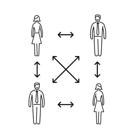 interpersonal: Vector interpersonal relationship skills icon of group of businessman connected with arrows