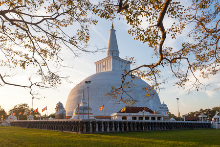 dagoba: Mahatupa big Dagoba in Anuradhapura at sunset,  Sri Lanka, Asia Stock Photo