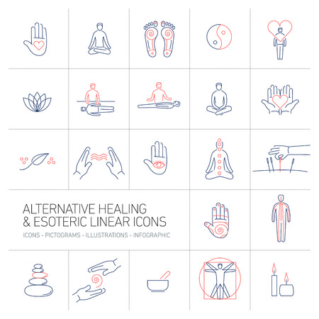 yoga to cure health: alternative healing and esoteric linear icons set blue and red on colorful background | flat design illustration and infographic